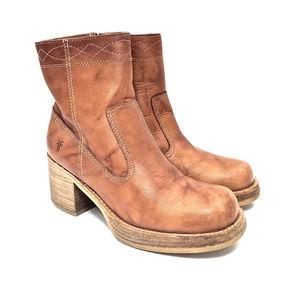 Frye Camel Leather Platform Zip Up Ankle Boots
